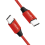 LOGILINK USB-C M-M STOFKABEL RØD 1M